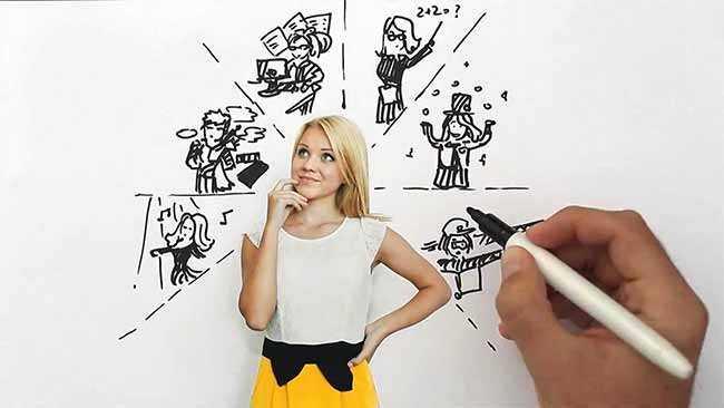 дівчина візначає майбутню профессію