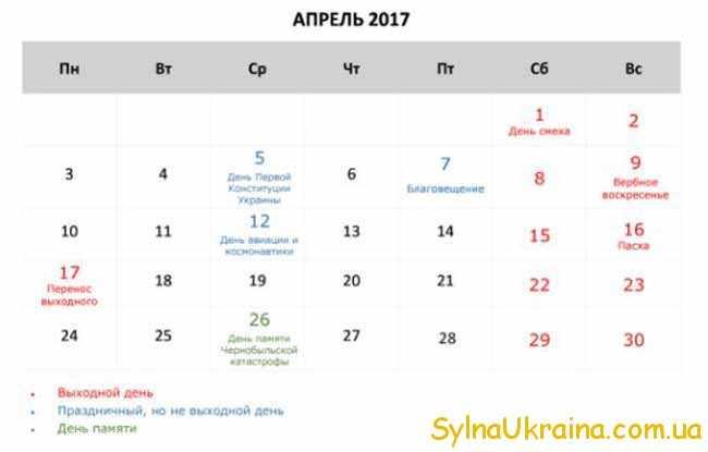 календар на квітень 2017