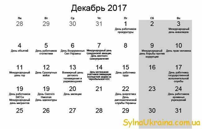 календар на грудень 2017 року