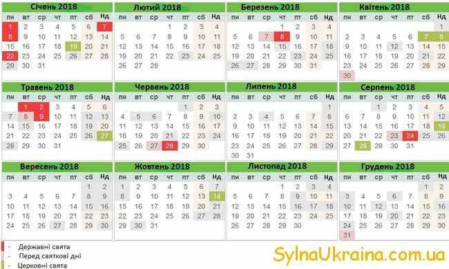 виробничий календар на 2018 рік