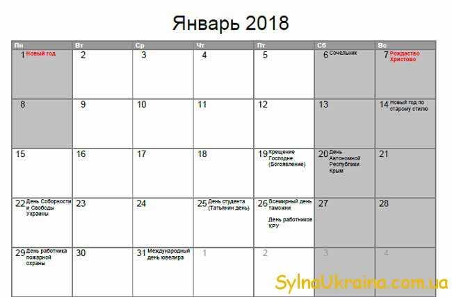 свята в січні 2018 в Україні