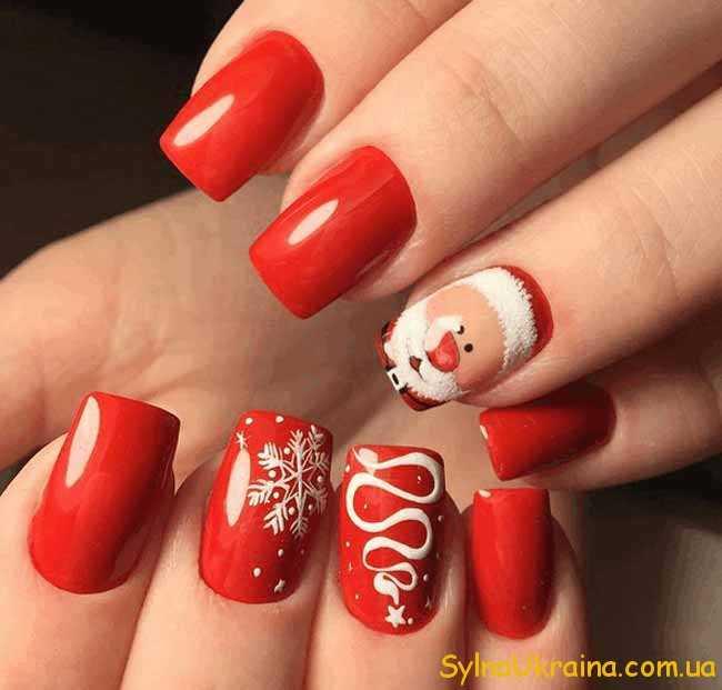 Червоний та білий манікюр