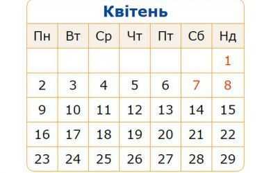 Релігійний календар на квітень 2019 року