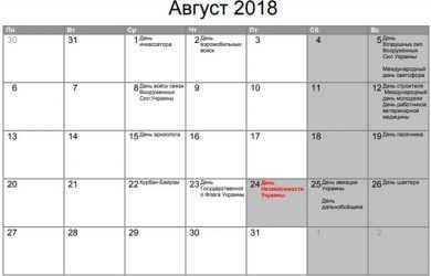 Вихідні дні у серпні 2018 року