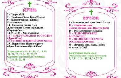 Православні свята у вересні 2018 року