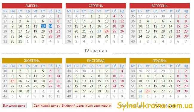 Виробничий календар на вересень 2018 рік в Україні