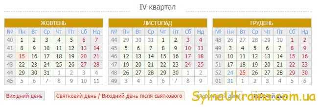 Виробничий календар на жовтень 2018 рік в Україні