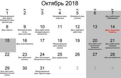 Вихідні дні у жовтні 2018 року