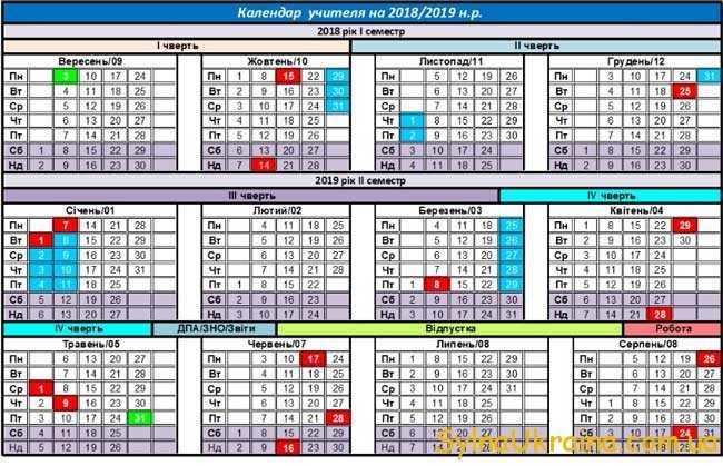 Календар вчителя на 2018-2019 навчальний рік