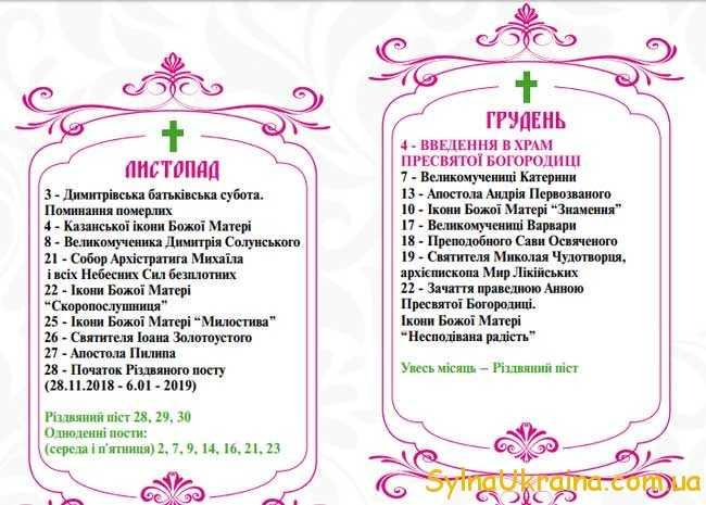 Православні свята у грудні 2019 року